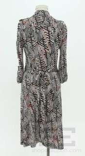 DVF Diane Von Furstenberg Navy Blue And Red Printed Silk Wrap Dress