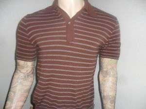 vtg BAN LON GARAN SHIRT pullover polo MOD 60s Brown SM