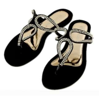 Fashion Lady Woman Shoes Black White Sandals Crystal Beach Flip Flop