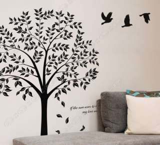 DIY Art Deco Decal Wall Sticker LINDEN TREE & BIRD WB04