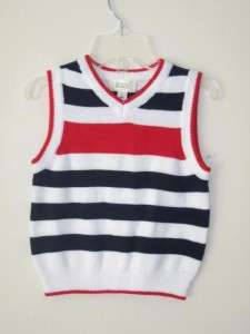Childrens Place Boy White Striped Sweater Vest 6 9 m