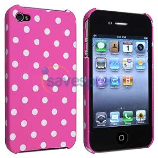 Pink/White Dot Hard Skin Case+Privacy Filter Protector For Apple
