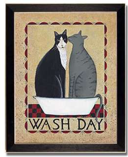 Wash Day Cat Laundry Room Decor Country Print Framed