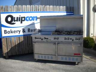 Burner Range with 24 Flat Top Griddle & Double Ovens   Propane