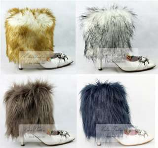 NEW 8/20cm Fashion Rare Long Faux Fox Fur Women Leg Warmers Boots