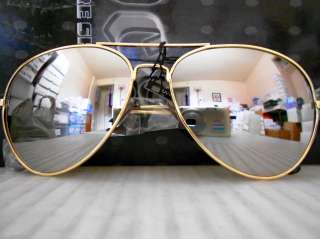 Gold Mirror Aviator Sunglasses Metal Frames Mirrored