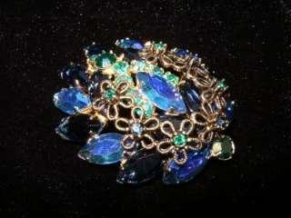 JULIANA~BLUE AURORA BOREALIS RHINESTONE BROOCH/EARRINGS