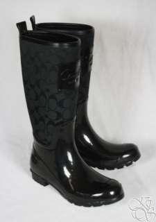 Pearl 12CM Signature Black Shiny Rubber Rainboots Rain Boots New A7314