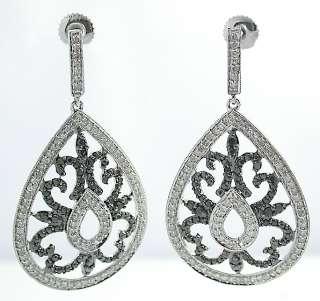 ct Round BLACK & White Diamonds in 14K gold Tear Drop DANGLE Earrings