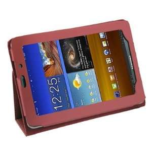 Red Leather Skin Case Cover with Stand For Samsung Galaxy