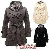 NEW LADIES WOMENS COAT CHECK MILITARY BELTED LOOK BUTTON JACKET TOP