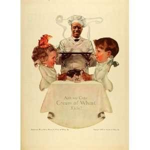 1917 Ad Cream Wheat Rastus Brother Sister Breakfast Table