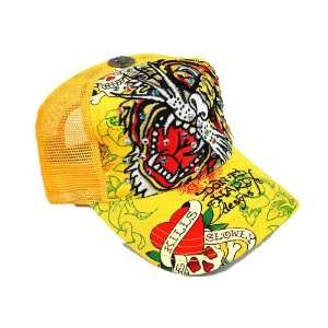 ED HARDY TRUCKERS BASEBALL CAP (HAT) with RHINESTONES   TIGER HEAD