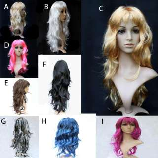 Punk Rock Long Curly Wave Hair Wig for Dance Party Cosplay Show