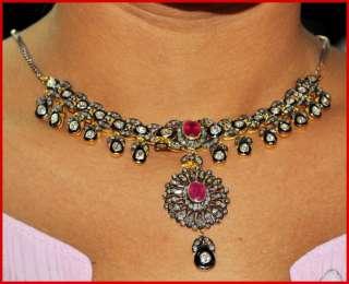 25.35ctw ROSE/ANTIQUE CUT DIAMOND RUBY 14k GOLD VICTORIAN 17 LONG