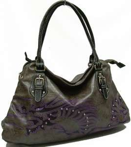 Ejs Designer Tattoo Large Dragon Rhinestones Tote Satchel Grey Purse