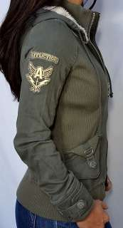 Affliction Women DYLAN Bomber Jacket with hood   NEW   11OW427   Army