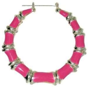Enamelled Bamboo Hoop Earrings In Magenta with Silver