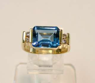 NEW 14K GOLD EMERALD CUT LONDON BLUE TOPAZ DIAMOND RING