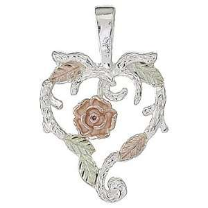 Black Hills Gold Sterling Silver Dakota Rose Heart Pendant Jewelry