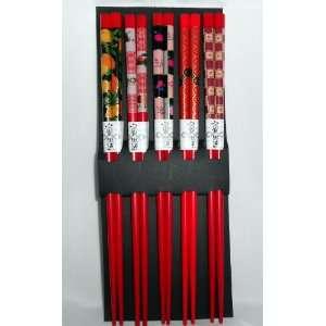5 pairs of Japanese Chopsticks Gift Set   Art Red Kitchen