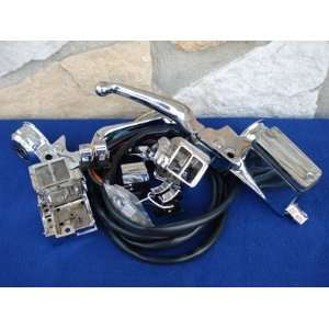 CHROME HANDLEBAR CONTROL KIT WITH CHROME SWITCHES FOR HARLEY