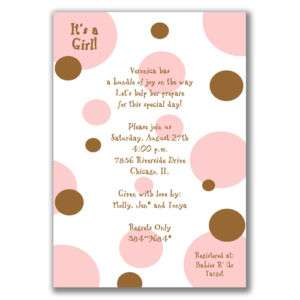 Polka Dots Invitations Brown Pink Baby Shower Girls
