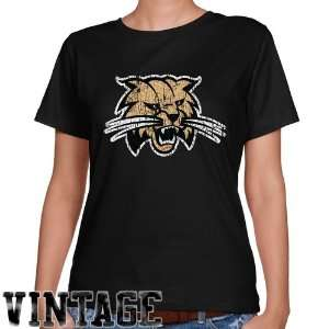 Cat Shirts  Ohio Bobcats Ladies Black Distressed Logo Vintage Classic