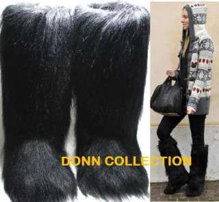 ESKIMO FAUX LONG FUR FURRY YETI BOOTS BLACK VINTAGE WARM WINTER SNOW