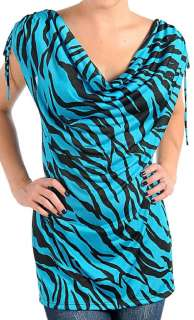 Turquoise/Black Zebra Drawstring Shoulder Cap Sleeve Plus Top