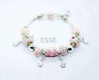 Silver Jewelry Pink Enamel Bead Charm Lobster Clasp Bracelet