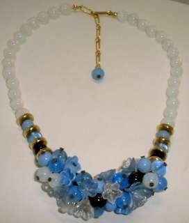Estate Jewelry Opal w/Blue/Black Glass Beaded & Flower Necklace