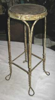 ANTIQUE TWISTED WROUGHT IRON HOME FLOWER GARDEN PLANT STAND TABLE