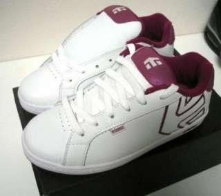 NEW w/ Box ETNIES Girls KIDS FADER White Violet Shoes 5