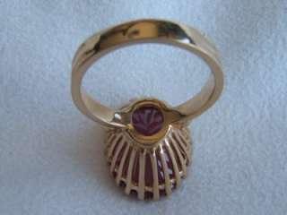 Vintage 14k Gold Ring w Pink Stone in Basket Setting
