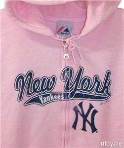 NEW YORK YANKEES PINK MLB MAJESTIC HOODIE JACKET Womens Med M NWT