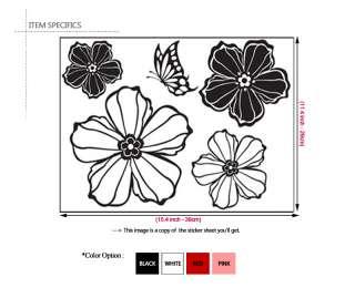 FLOWER & BUTTERFLY  I DECOR WALL PAPER STICKER DECALS