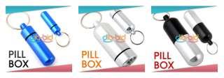 Aluminum Pill Box Case Bottle Holder Container Keychain