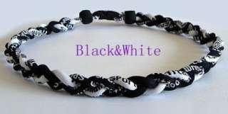 50cm Ionic Titanium Baseball Sport Necklace Black&White