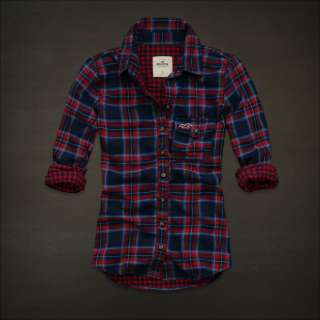 NWT Hollister womens Fallbrook Plaid Button down Shirt New