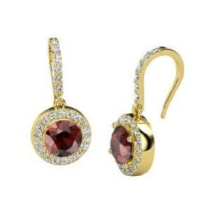 Gem Drop Earrings, Round Red Garnet 14K Yellow Gold Earrings