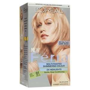 Loreal Feria Multi Faceted Shimmering Hair Color, 91 Light