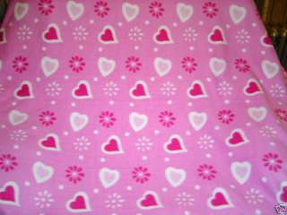 VALENTINE PINK HEARTS FLEECE FABRIC BLANKET THROW NEW