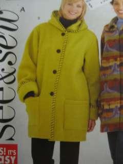 Butterick Womens FLEECE JACKET COAT Sewing Pattern
