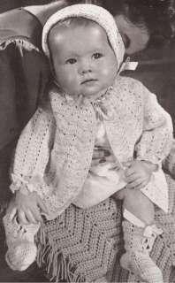 Vintage Baby Sweater Cap Blanket Set Crochet Pattern
