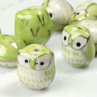 10 Green Animal Owl Charm Ceramic Porcelain Bead PB0009