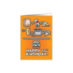 Happy Birthday   cake   15 years old Card: Toys & Games
