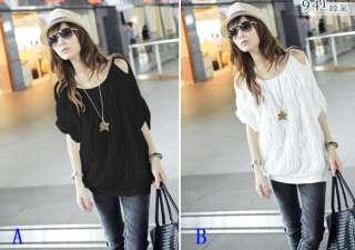 Korea Women Plicate Off Collar Tops Blouse T shirt Foz