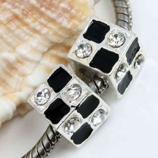 Clear Crystal Square European Beads Fit Charm Bracelet
