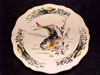 ANTIQUE FRENCH MAJOLICA FAIENCE SARREGUEMINES FISH PLATE, ff18